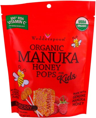 Comida, Bocadillos, Dulces Wedderspoon, Organic Manuka Honey Pops For Kids, Raspberry, 24 Count, 4.15 oz