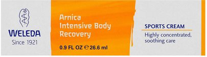 Suplementos, Homeopatía, Árnica Montana Weleda, Arnica Intensive Body Recovery, Sports Cream, 0.9 fl oz (26.6 ml)
