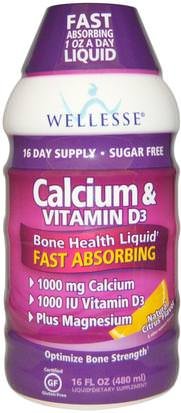 Suplementos, Minerales, Calcio, Calcio Líquido Wellesse Premium Liquid Supplements, Calcium & Vitamin D3, Sugar Free, Natural Citrus Flavor, 16 fl oz (480 ml)