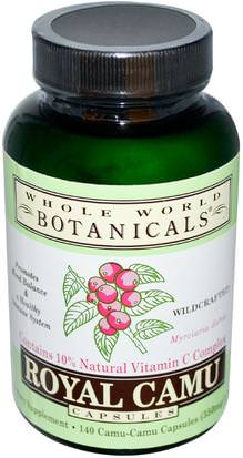 Suplementos, Antioxidantes, Camu Camu - Vitamina C Natural Whole World Botanicals, Royal Camu, 350 mg, 140 Capsules
