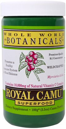 Suplementos, Antioxidantes, Camu Camu - Vitamina C Natural Whole World Botanicals, Royal Camu Powder, 3.5 oz (100 g)