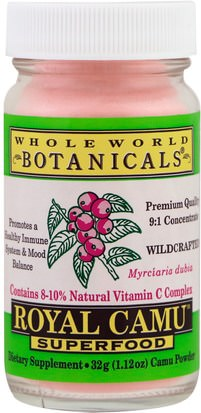 Suplementos, Antioxidantes, Camu Camu - Vitamina C Natural Whole World Botanicals, Royal Camu Superfood, 1.12 oz (32 g)