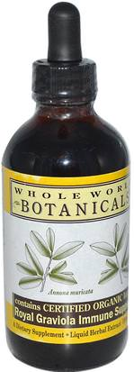 Salud, Gripe Fría Y Viral, Sistema Inmune, Hierbas, Graviola Whole World Botanicals, Royal Graviola Immune Support, 4 oz (120 ml)