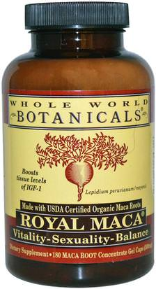 Suplementos, Adaptógeno, Hombres, Maca Whole World Botanicals, Royal Maca, 500 mg, 180 Gel Caps