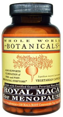 Suplementos, Adaptógeno, Hombres, Maca Whole World Botanicals, Royal Maca for Menopause, 500 mg, 120 Vegetarian Capsules