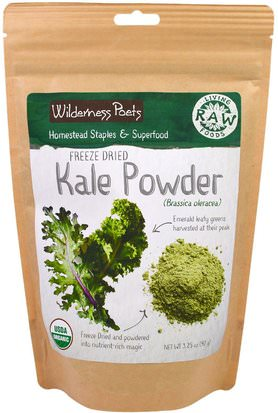 Suplementos, Col Rizada, Superalimentos, Verduras Wilderness Poets, Living Raw Foods, Freeze Dried Kale Powder, 3.25 oz (92 g)