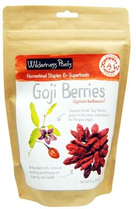Suplementos, Adaptógeno, Fruta Seca Wilderness Poets, Raw Living Foods, Goji Berries, 8 oz (226.8 g)