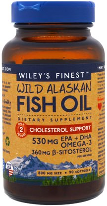 Salud, Colesterol, Colesterol Wileys Finest, Wild Alaskan Fish Oil, Cholesterol Support, 90 Softgels