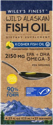 Suplementos, Efa Omega 3 6 9 (Epa Dha), Dha, Epa Wileys Finest, Wild Alaskan Fish Oil, Kosher Fish Oil, Natural Lemon Flavor, 4.23 fl oz (125 ml)