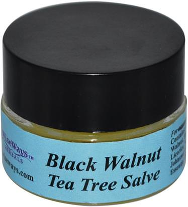 Hierbas, Nogal Negro, Salve Hierbas WiseWays Herbals, LLC, Black Walnut Tea Tree Salve, 1/4 oz (7.1 g)
