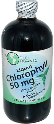 Suplementos, Clorofila World Organic, Liquid Chlorophyll, Natural Mint Flavor, 50 mg, 16 fl oz (474 ml)
