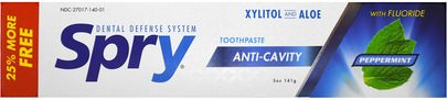 Baño, Belleza, Cuidado Dental Bucal, Xilitol Cuidado Bucal Xlear, Spry Toothpaste, Anti-Cavity with Fluoride, Peppermint, 5 oz (141 g)