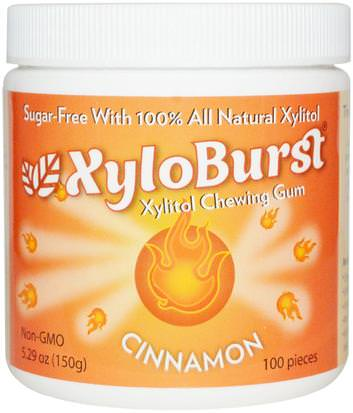Baño, Belleza, Cuidado Bucal Dental, Mentas De Goma Dental, Goma De Mascar Xyloburst, Xylitol Chewing Gum, Cinnamon, 5.29 oz (150 g), 100 Pieces