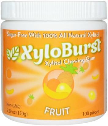 Baño, Belleza, Cuidado Bucal Dental, Mentas De Goma Dental, Goma De Mascar Xyloburst, Xylitol Chewing Gum, Fruit, 5.29 oz (150 g), 100 Pieces