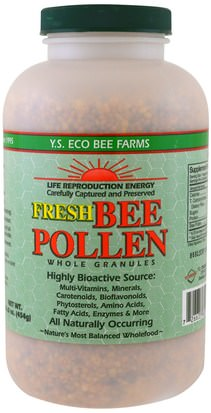 Productos Refrigerados Helados, Suplementos, Polen De Abeja Y.S. Eco Bee Farms, Fresh Bee Pollen Whole Granules, 16.0 oz (454 g)