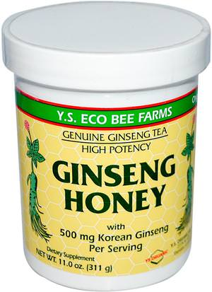 Suplementos, Adaptógeno, Edulcorantes Y.S. Eco Bee Farms, Ginseng Honey, 11.0 oz (311 g)