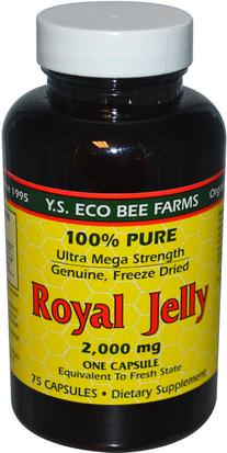 Suplementos, Productos De La Abeja, Jalea Real Y.S. Eco Bee Farms, Royal Jelly, 100% Pure, 2,000 mg, 75 Capsules