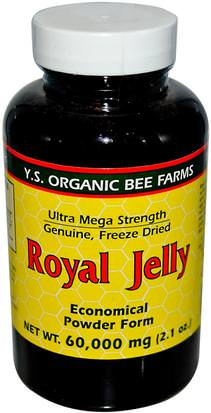 Suplementos, Productos De La Abeja, Jalea Real Y.S. Eco Bee Farms, Royal Jelly, Economical Powder Form, 2.1 oz (60,000 mg)