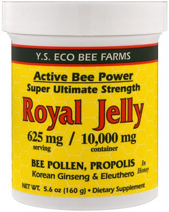 Suplementos, Productos De Abejas, Jalea Real, Alimentos, Edulcorantes Y.S. Eco Bee Farms, Royal Jelly In Honey, 625 mg, 5.6 oz (160 g)