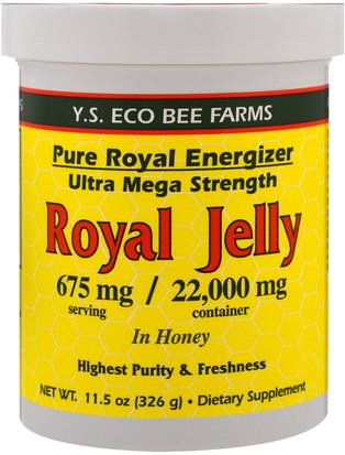 Suplementos, Productos De Abejas, Jalea Real, Alimentos, Edulcorantes Y.S. Eco Bee Farms, Royal Jelly In Honey, 675 mg, 11.5 oz (326 g)