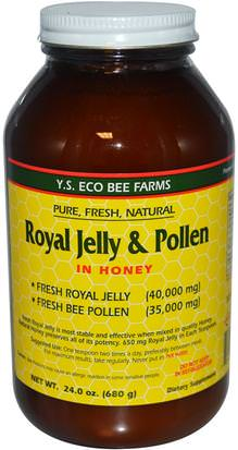Suplementos, Productos De Abejas, Jalea Real, Alimentos, Edulcorantes Y.S. Eco Bee Farms, Royal Jelly & Pollen, in Honey, 24 oz (680 g)