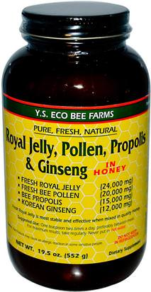 Suplementos, Adaptógeno, Productos De La Abeja, Polen De Abeja Y.S. Eco Bee Farms, Royal Jelly, Pollen, Propolis & Ginseng in Honey, 19.5 oz (552 g)