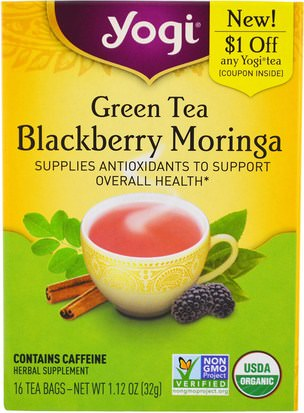 Comida, Té De Hierbas Yogi Tea, Green Tea Blackberry Moringa, 16 Tea Bags, 1.12 oz (32 g)