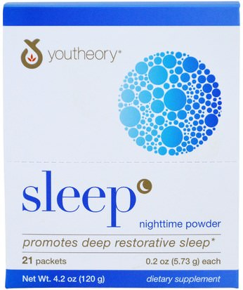 Suplementos, Dormir Youtheory, Sleep, Nighttime Powder, 21 Packets, 0.2 oz (5.73 g) Each