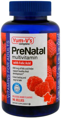 Vitaminas, Multivitaminas, Gominolas Multivitamínicas Yum-Vs, PreNatal Multivitamin with Folic Acid, Berry Flavors, 90 Jellies