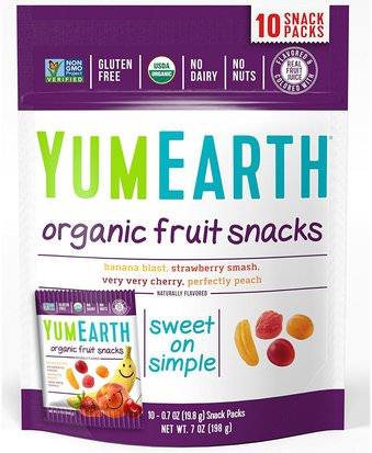 Comida, Bocadillos, Dulces, Bocadillos De Fruta YumEarth, Organic Fruit Snacks, Original, 10 Packs, 0.7 oz (19.8 g) Each