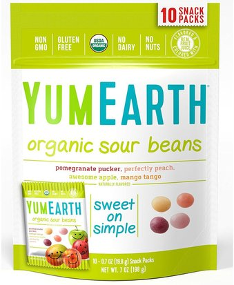 Comida, Bocadillos, Dulces YumEarth, Organic Sour Beans, Assorted Flavors, 10 Snack Packs, 0.7 oz (19.8 g) Each