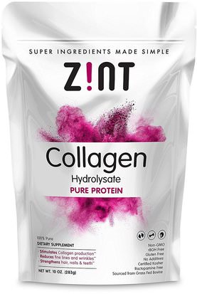 Salud, Hueso, Osteoporosis, Colágeno Z!NT, Collagen Hydrolysate, Pure Protein, 10 oz (283 g)
