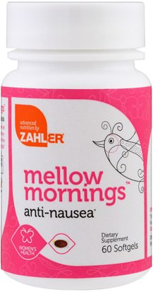 Hierbas, Raíz De Jengibre Zahler, Mellow Mornings, Anti-Nausea, 60 Softgels