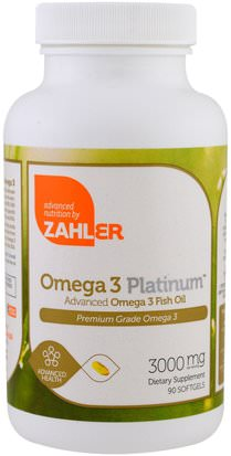 Suplementos, Efa Omega 3 6 9 (Epa Dha), Aceite De Pescado Zahler, Omega 3 Platinum, Advanced Omega 3 Fish Oil, 3000 mg, 90 Softgels