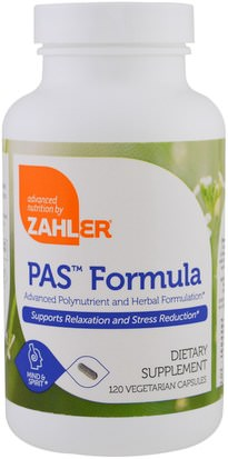 Salud, Anti Estrés, Vitaminas Zahler, PAS Formula, Advanced Polynutrient and Herbal Formulation, 120 Vegetarian Capsules