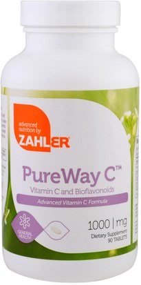 Suplementos, Antioxidantes, Vitaminas Zahler, PureWay C, Advanced Vitamin C, 1,000 mg, 90 Tablets