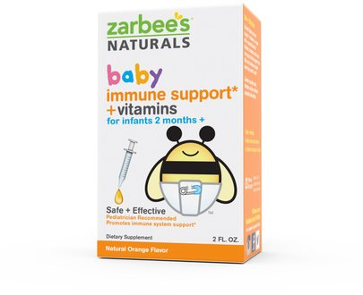 Salud De Los Niños, Sistema Inmune Zarbees, Baby, Immune Support + Vitamins, Natural Orange Flavor, 2 fl oz