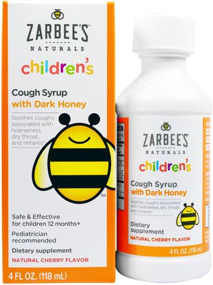 Suplementos, Productos De Abejas, Tos Fría De La Gripe Zarbees, Childrens Cough Syrup with Dark Honey, Natural Cherry Flavor, 4 fl oz (118 ml)