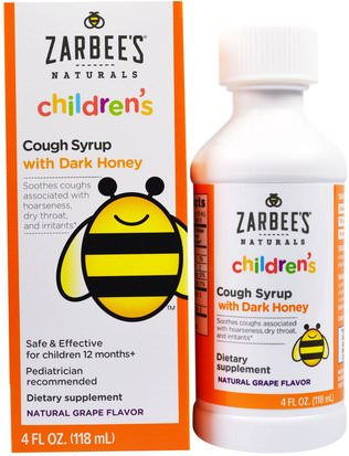 Suplementos, Productos De Abejas, Tos Fría De La Gripe Zarbees, Childrens Cough Syrup with Dark Honey, Natural Grape Flavor, 4 fl oz (118 ml)