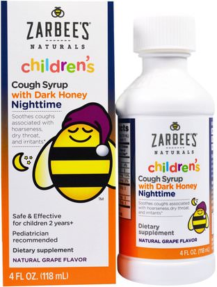Suplementos, Melatonina 1 Mg Zarbees, Childrens Nighttime Cough Syrup, Natural Grape Flavor, 4 fl oz (118 ml)