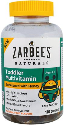 Salud De Los Niños, Niños Gomitas, Multivitaminas, Niños Multivitaminas Zarbees, Toddler Multivitamin, Sweetened with Honey, 110 Gummies