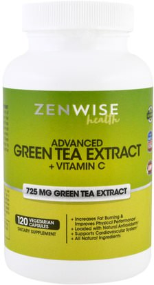 Suplementos, Antioxidantes, Té Verde, Hierbas, Egcg Zenwise Health, Advanced Green Tea Extract Plus Vitamin C, 120 Veggie Caps