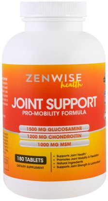 Salud, Hueso, Osteoporosis, Salud De Las Articulaciones Zenwise Health, Joint Support, Pro-Mobility Formula with Glucosamine, Chondroitin and MSM, 180 Tablets