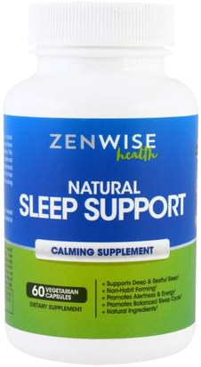 Suplementos, Dormir Zenwise Health, Natural Sleep Support, Calming Supplement, 60 Veggie Caps