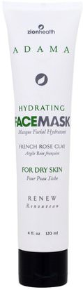 Belleza, Máscaras Faciales Zion Health, Adama, Hydrating Face Mask, French Rose Clay, 4 fl oz (120 ml)