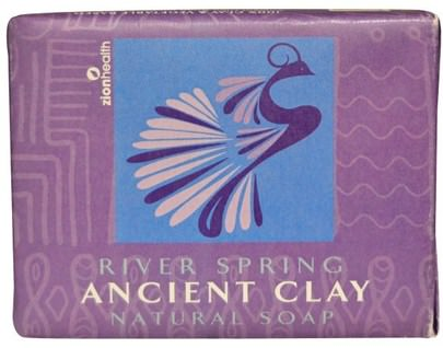 Baño, Belleza, Jabón Zion Health, Ancient Clay Natural Soap, River Spring, 10.5 oz (300 g)