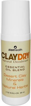 Baño, Belleza, Desodorante, Desodorante Roll-On Zion Health, Clay Dry Natural Roll-On Deodorant, 3 oz (89 ml)
