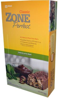 Deportes, Barras De Proteína, Barras Nutricionales ZonePerfect, Classic, All-Natural Nutrition Bars, Chocolate Mint, 12 Bars, 1.76 oz (50 g) Each)