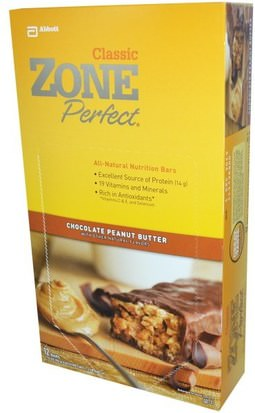 Suplementos, Barras Nutricionales ZonePerfect, Classic, All-Natural Nutrition Bars, Chocolate Peanut Butter, 12 Bars, 1.76 oz (50 g) Each