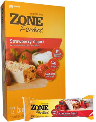 Deportes, Barras De Proteína, Barras Nutricionales ZonePerfect, Nutrition Bars, Strawberry Yogurt, 12 Bars, 1.76 oz (50 g) Each